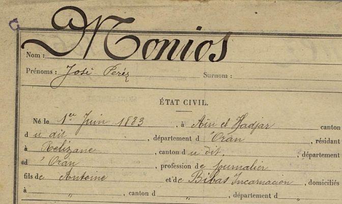 Registre matricule Algérie 1903