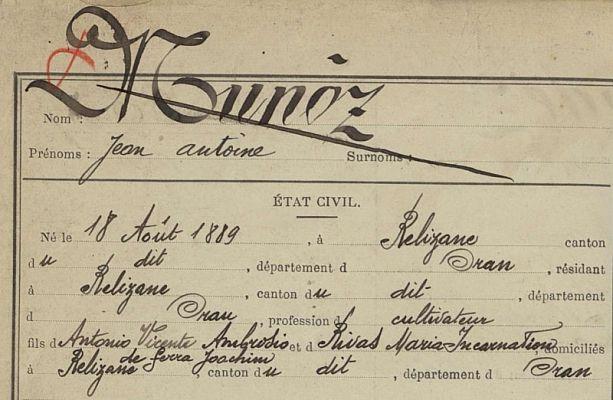 Registre matricule Algérie 1909